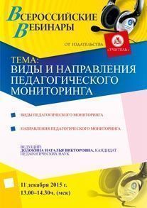 Вебинар «Виды и направления педагогического мониторинга»