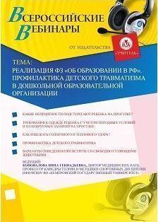 Вебинар «Реализация ФЗ «Об образовании в РФ». Профилактика детского травматизма в дошкольной образовательной организации»