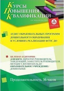 Аудит образовательных программ дошкольного образования в условиях реализации ФГОС ДО (36 часов)