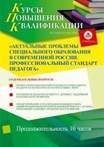 Актуальные проблемы специального образования в современной России. Профессиональный стандарт педагога (16 часов)