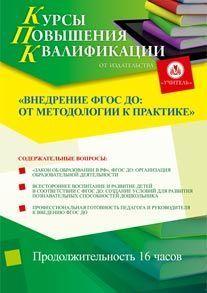 Внедрение ФГОС ДО: от методологии к практике (16 часов)