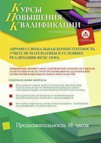 Профессиональная компетентность учителя математики в условиях реализации ФГОС ООО (16 часов)