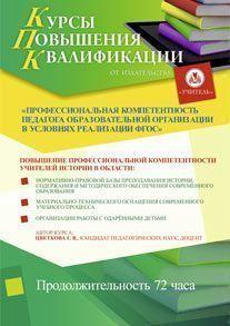 Профессиональная компетентность педагога образовательной организации в условиях реализации ФГОС (для учителей истории и обществознания)