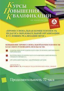Профессиональная компетентность педагога образовательной организации в условиях реализации ФГОС (для классных руководителей) (72 часа)