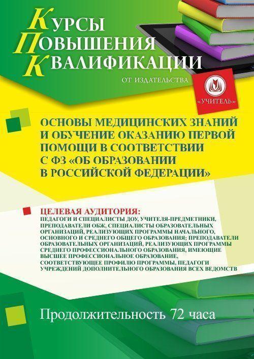 Основы медицинских знаний и обучение оказанию первой помощи в соответствии с ФЗ «Об образовании в Российской Федерации» (72 ч.) фото