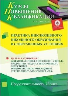 Практика инклюзивного школьного образования в современных условиях (72 ч.) фото